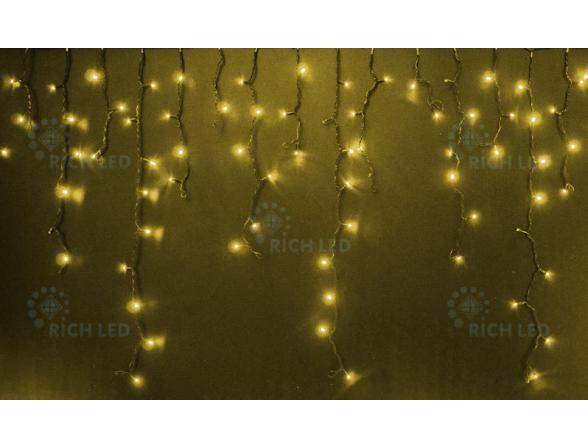 Светодиодная бахрома Rich LED 3*0.5 м, цвет: желтый. Черный провод.