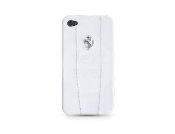 Чехол Ferrari для iPhone 4/4s Hard Case Modena Leather Logo Metal (белый)