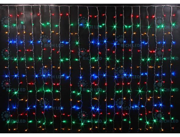 Светодиодный занавес Rich LED 2*1.5 м, цвет: мульти. Прозрачный провод