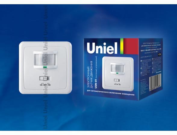 Датчик движения Uniel USN-01-160R-600W-3LUX-9M-0,6-1,5m/s-WH