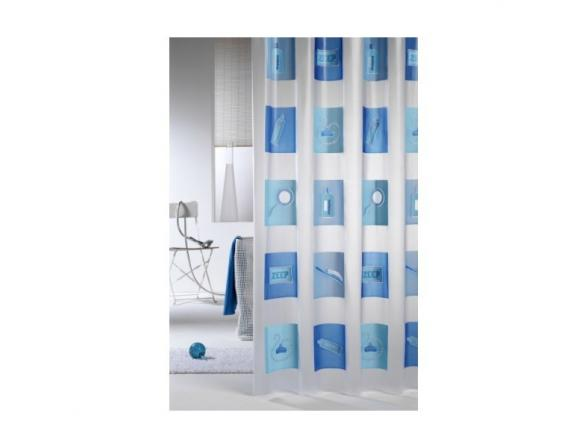 Шторка SEALSKIN Blok 180х200, винил, синий (211461324)