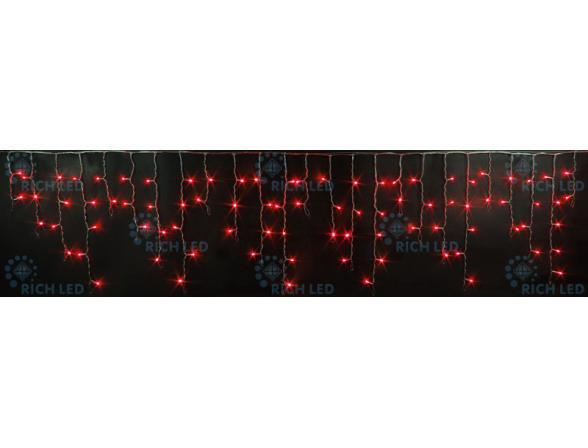 Светодиодная бахрома Rich LED 3*0.5 м, цвет: красный. Прозрачный провод