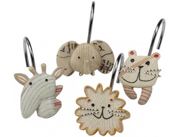 Набор из 12 крючков для шторки Creative Bath Animal Crackers ANC83NAT