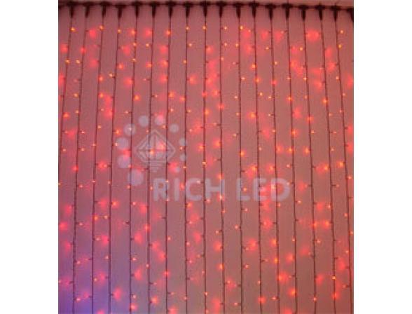 Светодиодный занавес Rich LED 2*9 м, цвет: красный. Черный провод