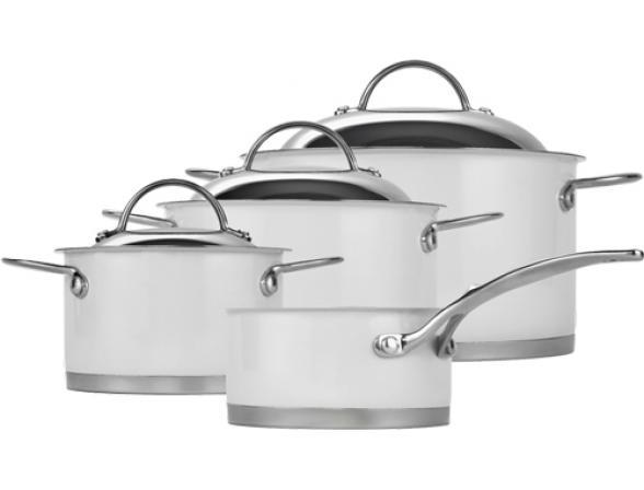 Набор посуды Wesco белый   4 кастрюли (1,5;2,5;3;5) ковш 1литр 340701-01