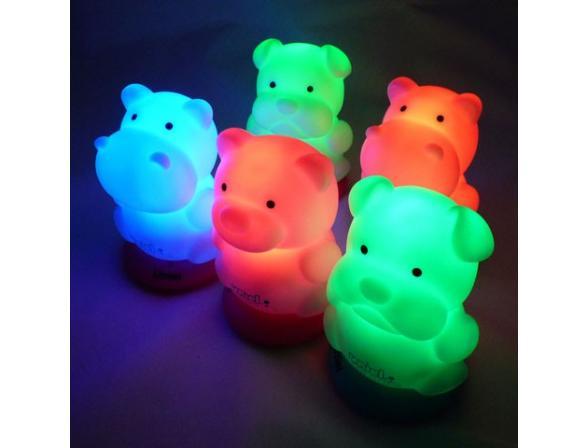 Светильник-ночник Uniel DTL-305-Медвежонок/3color/Base pink/Rech.