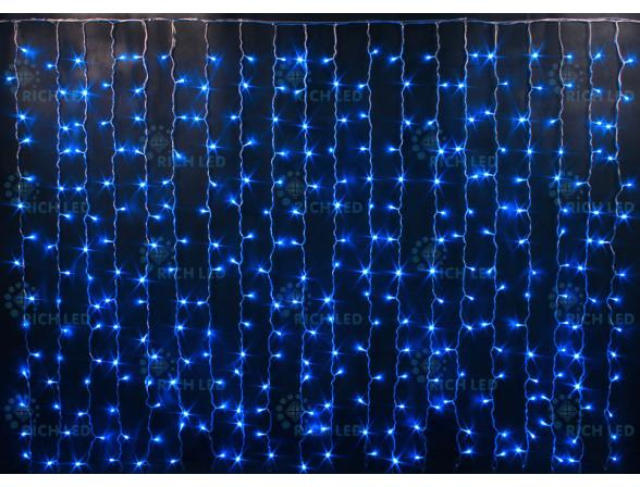 Светодиодный занавес Rich LED 2*1.5 м, мерцающий, цвет: синий. Прозрачный провод