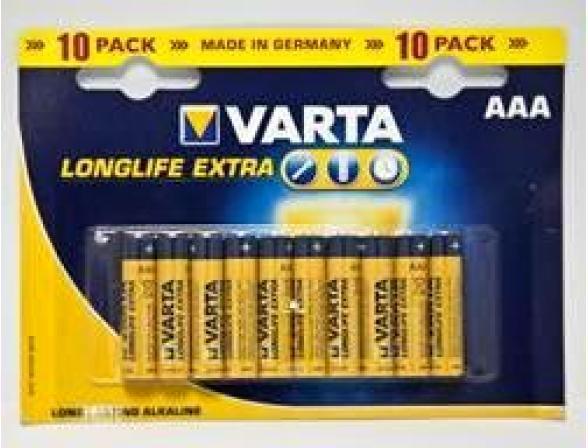 Батарейка Varta LONGLIFE EXTRA AAA бл 10