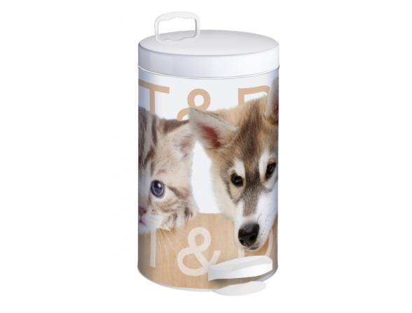 Ведро для мусора Meliconi Кот и Пес 5л