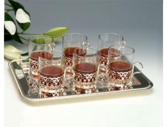 Набор для чая Queen Anne (поднос 34*25см, 6 стаканов)