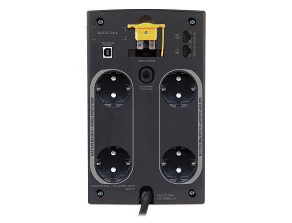 Источник бесперебойного питания APC Back-UPS 800VA with AVR,  Schuko Outlets, 230V for Russia (BX800CI-RS)