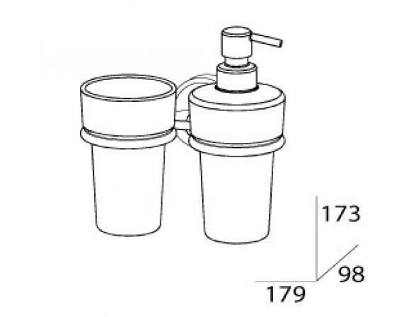 Держатель со стаканом и емкостью для жидкого мыла FBS ELLEA ELL 008