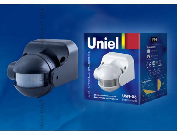 Датчик движения Uniel USN-06-180R-1200W-3LUX-12M-0,6-1,5m/s-BL