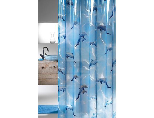 Шторка SEALSKIN Delfino 180х200, винил, синий (210691324)