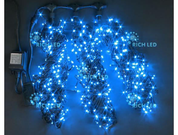 Светодиодная гирлянда Rich LED 3 нити по 20 м, с контроллером, цвет: синий. Черный провод.