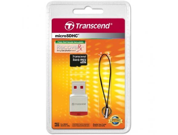 Флэш память Transcend 8Gb microSDHC Card class 10 + USB reader