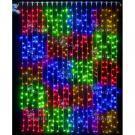 Светодиодный занавес Rich LED 2*3 м,  цвет мульти квадраты. Прозрачный провод