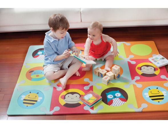Мягкий напольный игровой коврик-пазл 12 плиток Skip Hop Playspot Zoo
