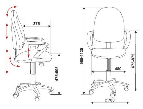 Кресло BURO T-612AXSN/Grey