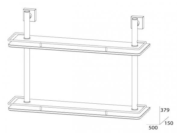 Полка с ограничителем двойная FBS ESPERADO 50 см ESP 064