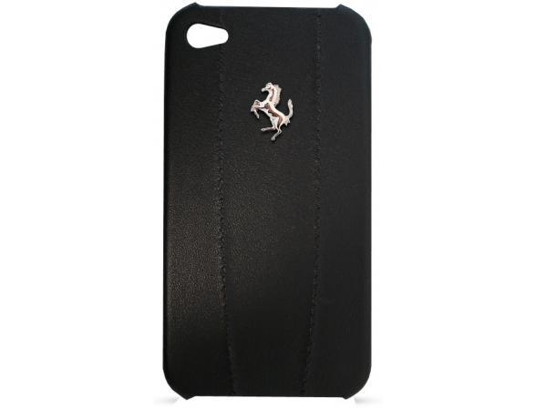 Чехол Ferrari для iPhone 4/4s Hard Case Modena Leather Logo Metal (черный)
