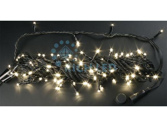 Светодиодная гирлянда Rich LED 10 м, цвет: теплый белый.  Черный провод.