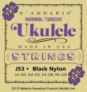 Струны для укулеле концерт D'ADDARIO J53