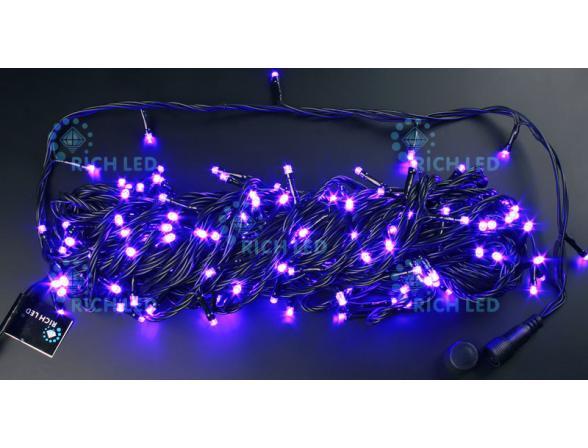 Светодиодная гирлянда Rich LED 20 м, 220В, цвет: фиолетовый.  Черный провод.