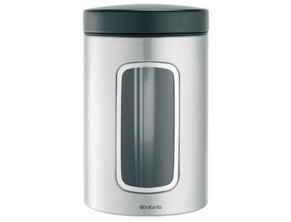 Контейнер для сыпучих продуктов с окном Brabantia 1,4л. 299247 матовый стальной
