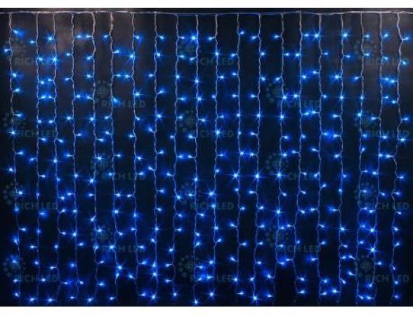 Светодиодный занавес Rich LED 2*3 м, цвет: синий + белый. Прозрачный провод