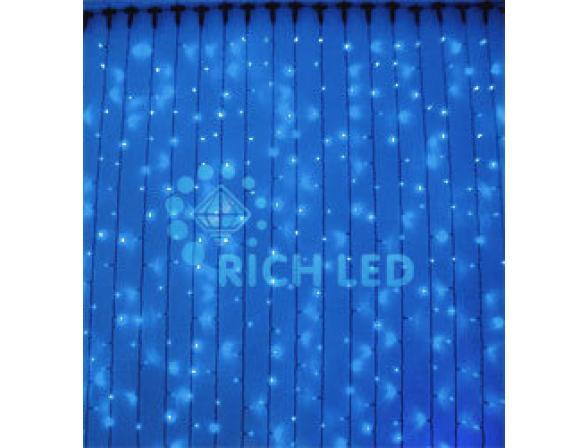 Светодиодный занавес Rich LED 2*3 м, цвет: синий. Черный резиновый провод