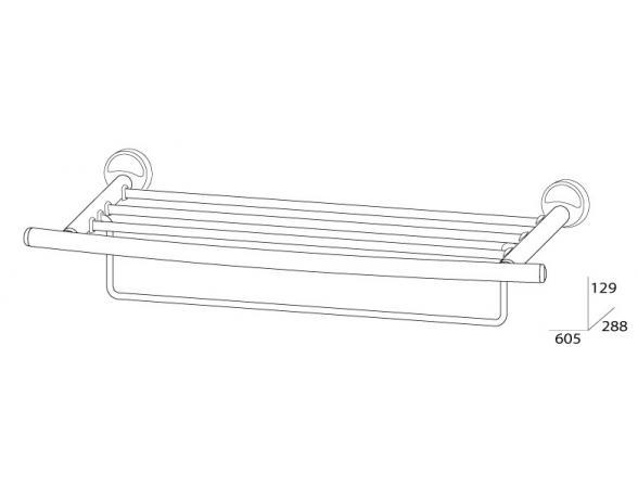 Полка для полотенец с нижним держателем FBS ELLEA 60 см ELL 042