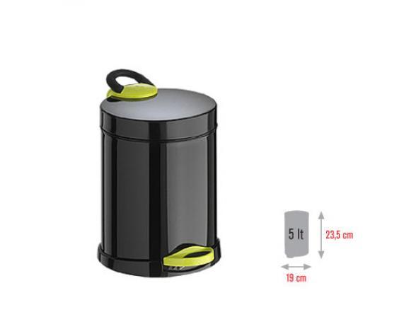 Ведро для мусора Meliconi OPERA 5л (черный/зеленый)