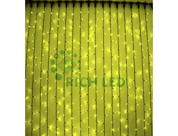 Светодиодный занавес Rich LED 2*9 м, цвет: желтый. Черный провод
