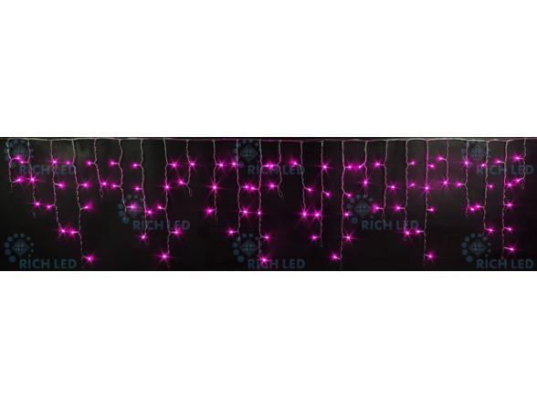 Светодиодная бахрома Rich LED 3*0.5 м, цвет: розовый. Прозрачный провод