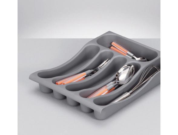 Подставка для столовых приборов Zeller серый пластик  24885
