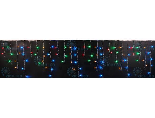 Светодиодная бахрома Rich LED 3*0.5 м, цвет: мульти. Прозрачный провод