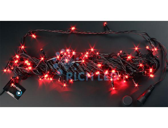 Светодиодная гирлянда Rich LED 10 м, цвет: красный. Черный провод.