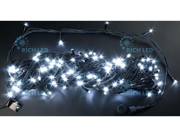 Светодиодная гирлянда Rich LED 20 м, 220В, цвет: белый. Черный провод.RL-T20C2-W