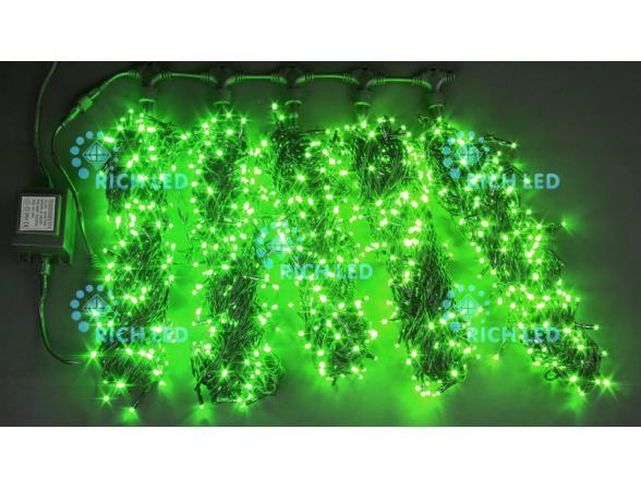 Светодиодная гирлянда Rich LED 5 нитей по 20 м, цвет: зеленый. Черный провод.