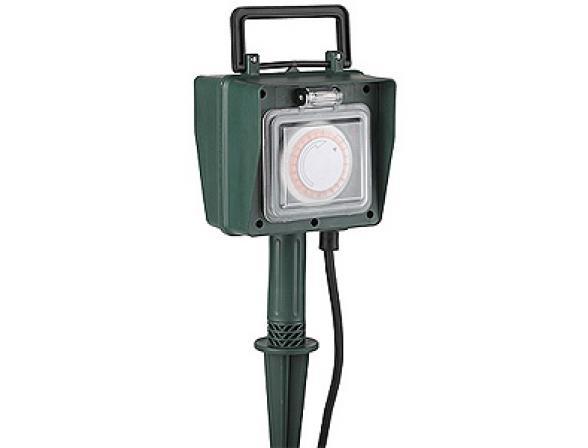 Удлинитель силовой ЭРА UT-2e-10m-IP44 садовый, таймер 24ч/15мин с заземлением 10м 2гн 3х1мм2 (3)