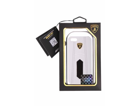 Кожаный клип-кейс Promate для iPhone 5 Lamborghini Aventador-D2 со ставкой из углеродного волокна (белый)