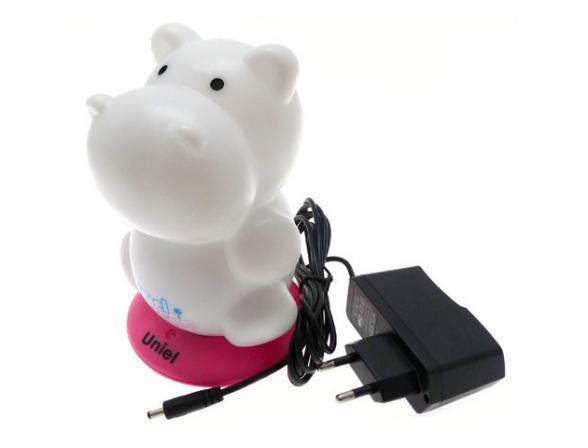 Светильник-ночник Uniel DTL-305-Бегемотик/3color/Base pink/Rech
