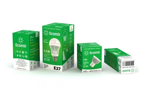 Светодиодная лампа Ecomir 4W MR16   GU10 220V, 4 Вт, белый/ матовый рассеиватель 43378