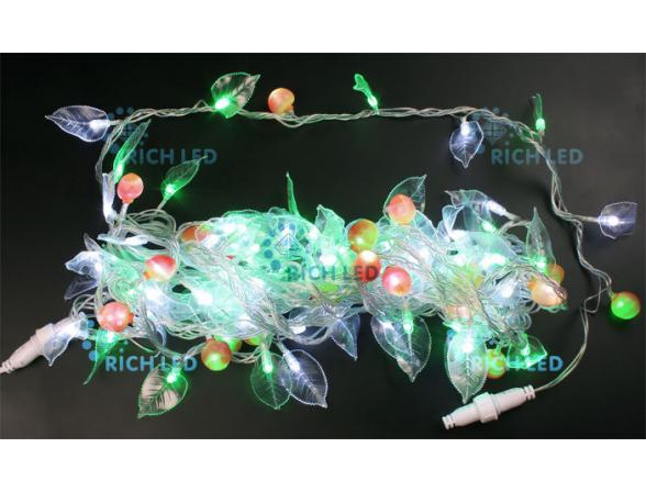 Светодиодный декор Rich LED ФЛОРА 10 м, цвет: зеленый +белый. Прозрачный провод