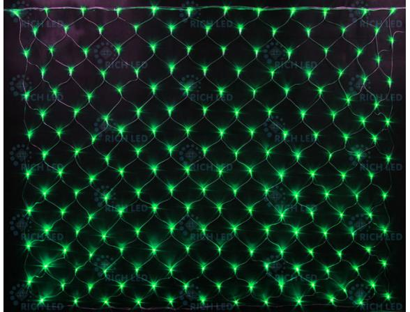 Светодиодная сетка Rich LED 2*3 м, цвет: зеленый. Прозрачный провод.