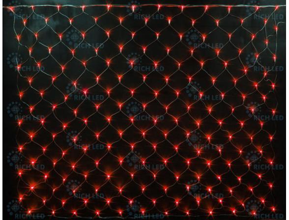 Светодиодная сетка Rich LED 2*1.5 м, цвет: красный. Прозрачный провод.