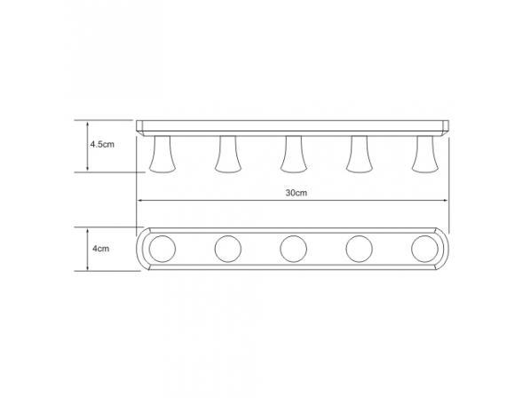 Кронштейн настенный WasserKRAFT 5 крючков, К-1075 30 см