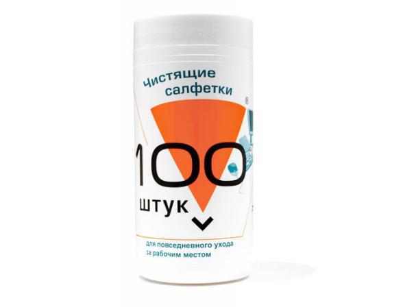 Салфетки Konoos KBU-100 салфетки для комп. техники в банке, 100 шт.