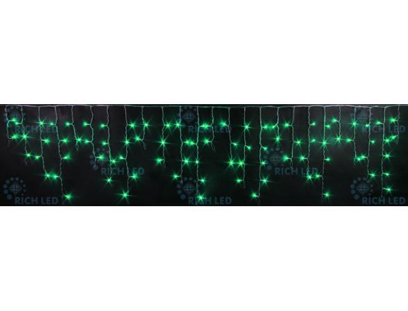 Светодиодная бахрома Rich LED 3*0.5 м, цвет: зеленый. Прозрачный провод